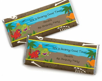 24 Dinosaur Custom Candy Bar Wrappers - Personalized Birthday Party Favors