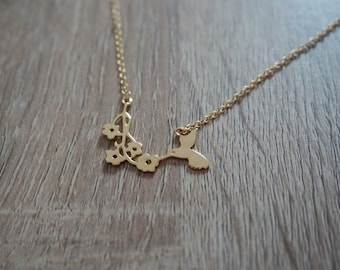 Bird, Hummingbird, tropical necklace, gold plated 18 k, silver plated