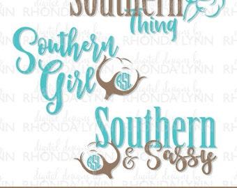 SALE! Southern Girl Monogram SVG, dxf, png, jpg, Cotton Monogram SVG, Southen & Sassy svg, It's a Southern Thing svg, Southern Monogram