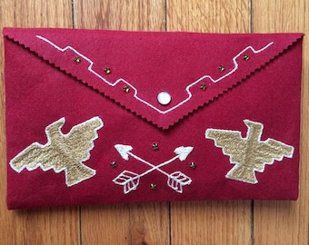 Chsinstitch embroidered clutch: thunderbird!