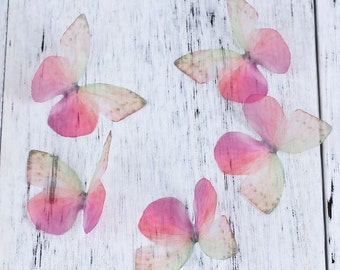 free UK postage Pack of 5 Ethereal Organza Pink Butterfly for Millinery or Decoration B0084195