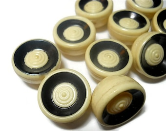 Vintage Buttons Celluloid Ivory and Black (10)