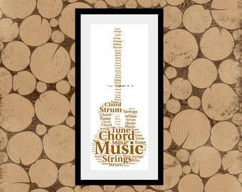 Acoustic Guitar Print, Guitar Word Art, Acoustic Guitar Word Collage, Acoustic Guitar Word Cloud, Personalised Acoustic Guitar Print
