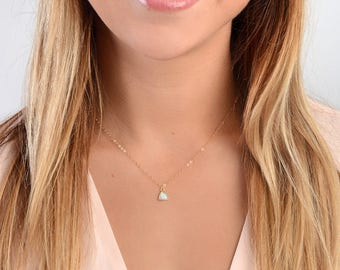 Dainty Opal Necklace, Delicate Layered Necklace, Layering Necklace, Bridesmaid Gift, Minimal Jewelry, Girlfriend Gift, in Gold Fill, Silver