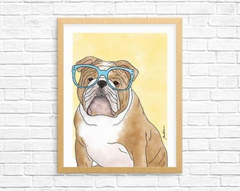 Dog Art Print, English Bulldog Art, Dog Lover Gift, Pet Portrait, Dorm Decor, Home Decor, Nursery Art
