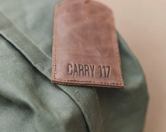 BROWN Leather Luggage Tag, handmade, fair-trade