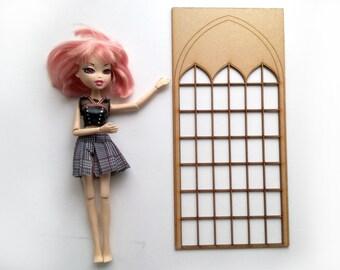Dollhouse window, one sixth scale, Diorama, Gothic, bjd doll, laser cut, dollhouse kit, Pullip roombox, Blythe house, Halloween Diorama, msd