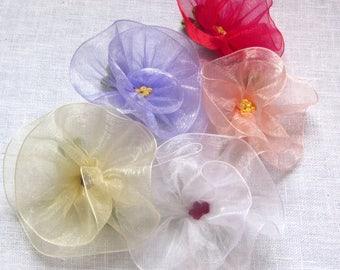 Two Hand Sewn Flower Hair Clips - Ribbon Flower - Hand Embroidered Center - Velvet Covered Clip