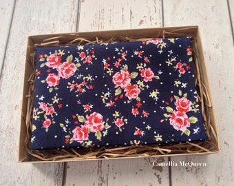 Men's pocket square, men's handkerchief, pink floral on navy pocket square