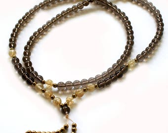 Japa Mala  108 Gemstone Smoky Quartz  8mm Beads Prayer Yoga Necklace for Meditation and Mantra