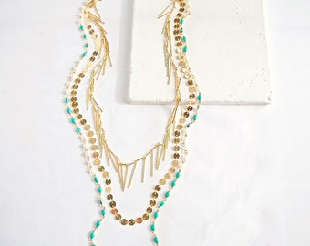 Turquoise Layered Chain Necklace . SALE 50% off