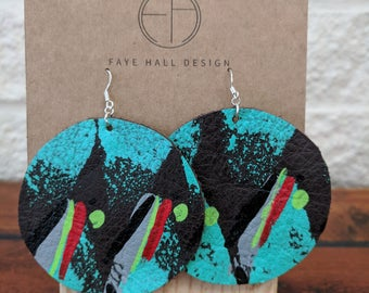 Large disc hand printed leather earrings