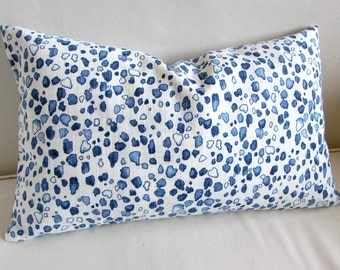 Calico Wedgwood blues Lumbar Pillow 12x20 decorative throw toss accent  insert included