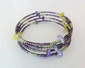 Beaded memory wire bangle / bracelet