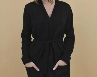 Long black cashmere blend belted cardigan