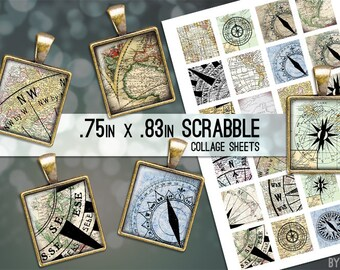 Compass Maps Digital Collage Sheet Scrabble Tile .75x.83 Images 4x6 8.5x11 Download Sheets for Glass Resin Pendants E0070