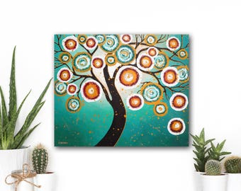 Tree of Life ORIGINAL Painting Modern Art, OOAK Turquoise Canvas Art Whimsical Home Decor, Housewarming Gift, Mothers Day Gift
