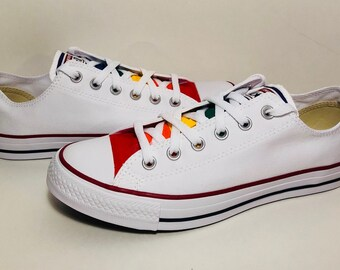 White Converse Hand Painted Gay Pride with Rainbow Flag