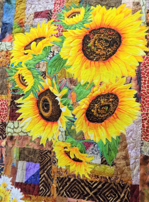 Sunflowers Wall Hanging Fabric Art Quilt Handmade Fiber Art