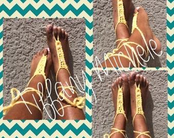 Sunny Yellow Beach Feet Barefoot Sandals