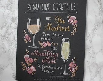 """Custom signature cocktail menu, 11""""x14"""" art board, floral ink drawing by hand"""