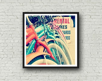 Vintage Bikes on the Beach Cruisers - DIGITAL DOWNLOAD - Beach Cruiser Bike Digital Download Art Print Colorful Home Decor Stock Photography