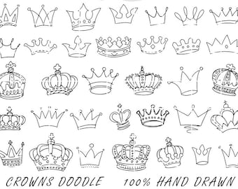 Crowns Doodle Hand Drawn Vector, Prince Crown Digital Clipart Vectors, Illustration original drawing, Sketched by Nedti