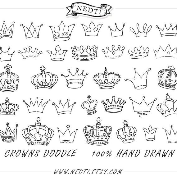 Dibujo de coronas Doodle mano dibujado Vector príncipe de