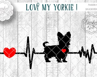 Love My Yorkie DOG Svg Cut File Heartbeat Stencil, Heart Monitor Car Stencil Digital Cutting file, Available Svg Dxf Eps Png