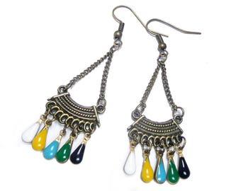 Bohemian earrings, autumn colored earrings, brass vintage, dangle mustard, earrings bronze