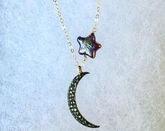 Diamond crescent moon pave diamond moon and peacock pearl star necklace moon and star necklace