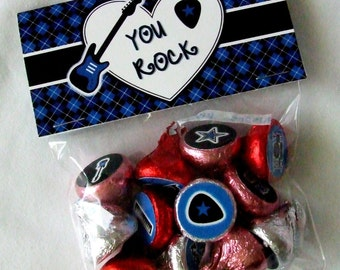 INSTANT DOWNLOAD - Printable Valentine Treat Bag Toppers & Hershey's Stickers Set -  You Rock - Rock Star -  Blue Only