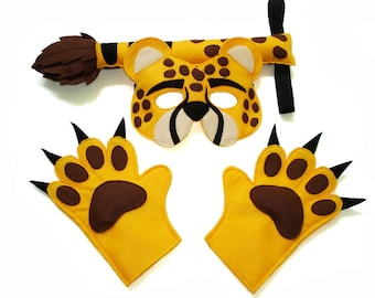 Children's Safari Animal CHEETAH Felt Mask Tail and Paws Costume Set