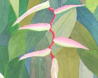 """HELICONIA 2, Original Watercolor, 11"""" X 15"""" vertical"""