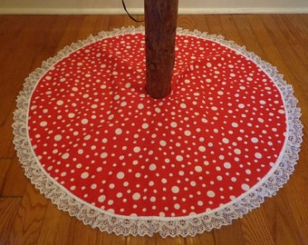 """Christmas Tree Skirt Reversible Polka Dots and Ornaments 32.5"""" Free Shipping"""