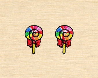 Set of 2 pcs Mini Rainbow Sweet Lollipop Candy Embroidered Iron On Patches Sew On Appliques
