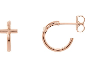 Cross Hoop Earrings made of 14k rose gold. A reminder of Christian faith.