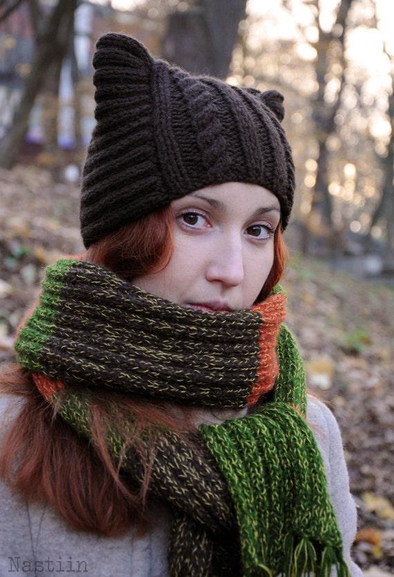 Brown knit cat ears hat Hand knit cat hat Brown hat knit