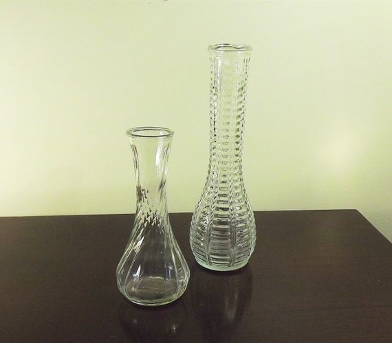 Hooser Bud Vase Set Of 2 Vintage Clear Glass Vases Ribbed