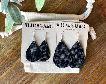 Black Canvas Leather Drop Earrings, Leather earrings, Statement earrings