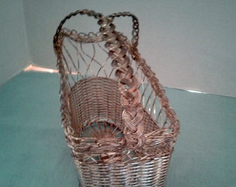 Vintage Woven Wire Wine Serving Caddy