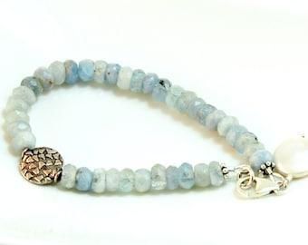 Aquamarine Bracelet, Sterling Silver, Gemstone bracelet, March Birthstone, Freshwater pearl Jewelry, Gift for her, March Birthday