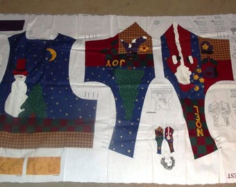 Christmas Vest Fabric Cut Out Adult sizes 6-20