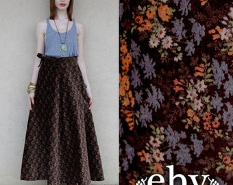Vintage 70s High Waisted Maxi Skirt XS S Brown Floral Belted Skirt Hippie Skirt Hippy Skirt Boho Skirt High Waisted Skirt High Waist Skirt