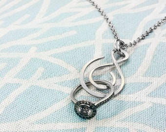 SALE - Ring Holder Necklace, Wedding / Engagement Ring Holder Pendant, Argentium Sterling Silver