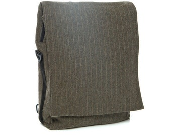 Grey, pinstripe, Padded Laptop Bag , Messenger Bag , Backpack - Niko in pinstripe synthetic wool