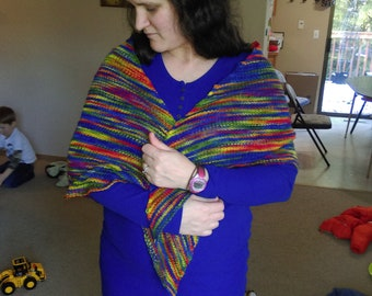 Hand Knit Wool Shawl for Charity