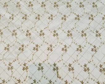 """100% Silk Shantung Pintuck Embroided usable for Interiro decorating and clothing. 54"""" wide sold by the yard."""