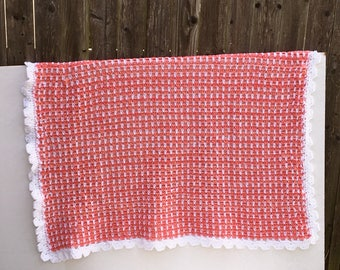 Coral Afghan, White Throw,  Orange Crocheted Handmade Blanket, Baby Gift, Ready to Ship