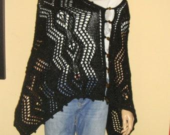 Versatile black poncho, black shawl, black scarf, lace poncho, hand knitted poncho ,